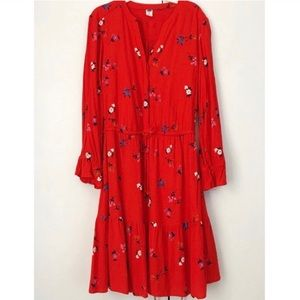 old navy floral print red ruffle summer dress